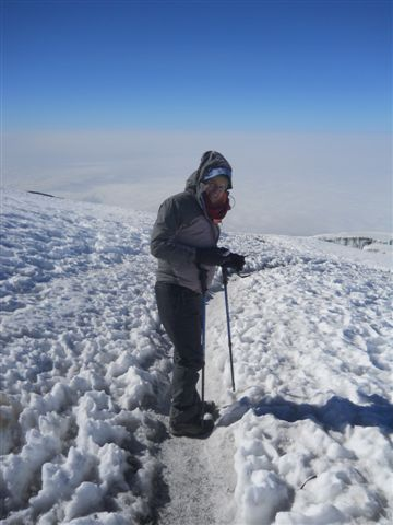 Donna making her way to the summit. Soon after these pics were taken we would see the actual summit for the first time!
