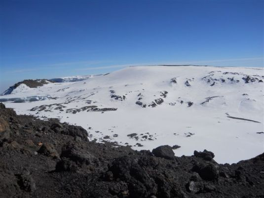 A view looking into the crater.