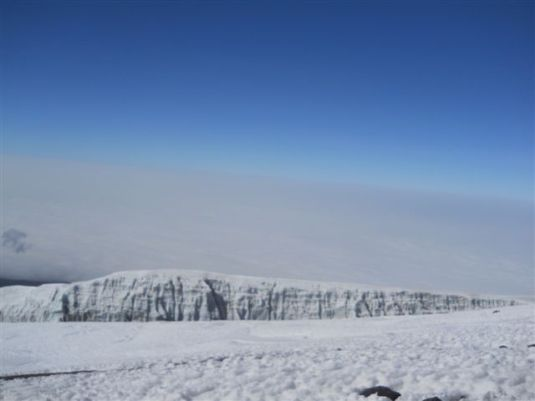 The Southern Icefield glaciers on our left as we headed towards the summit of Kilimanjaro.