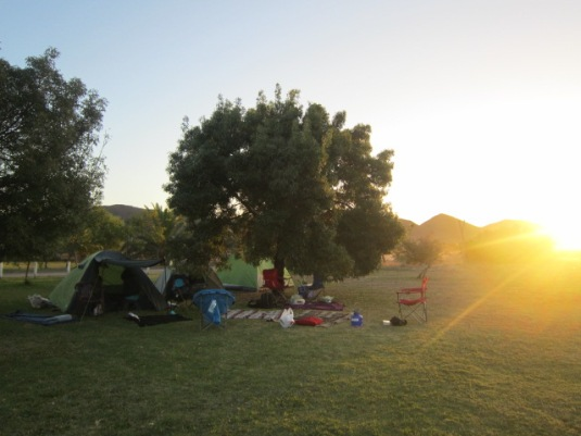 The sun was beginning to set on our campsite.