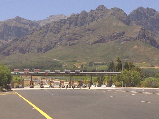 We followed the highway out towards the mountain pass, where we finally reached the toll gates.