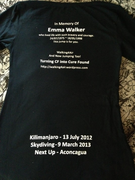 Two tops ~ one short sleeved t-shirt and one long sleeved one. This is what the back says.