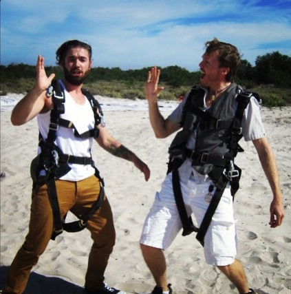 Crazy skydivers! Ross and Simon shortly after landing....