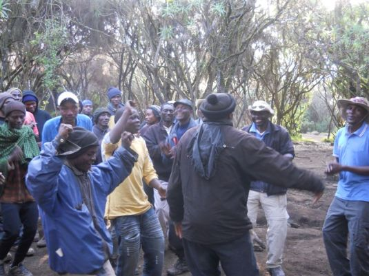 On hearing what tips they would be given our porters and guides broke out into song and dance.