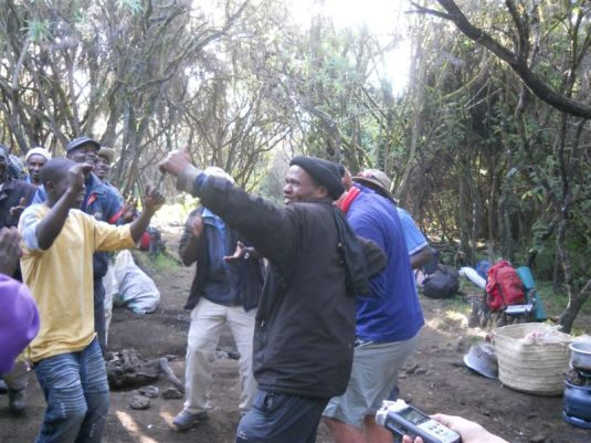 Our porters and guides sharing their joy with us.