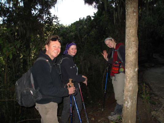 Taking one last look at the summit of Kilimanjaro behind us. Photo by Simon Bates