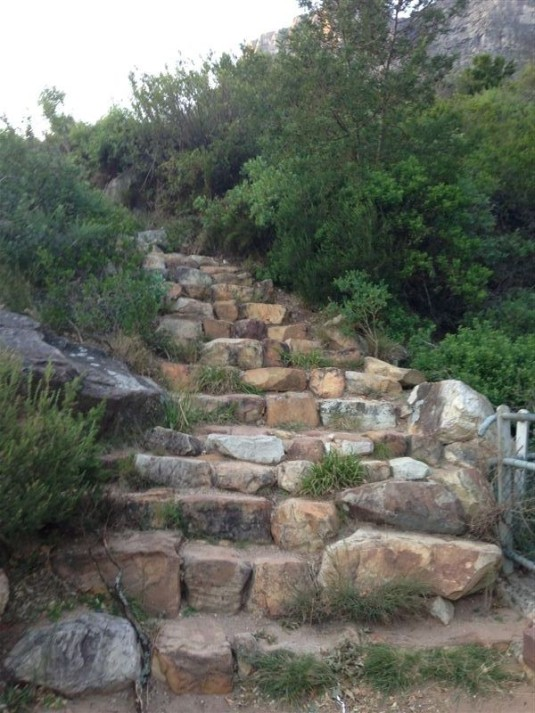 The stone stairway that would lead us straight up the mountain, with the steps becomes larger rocks and really making us work.