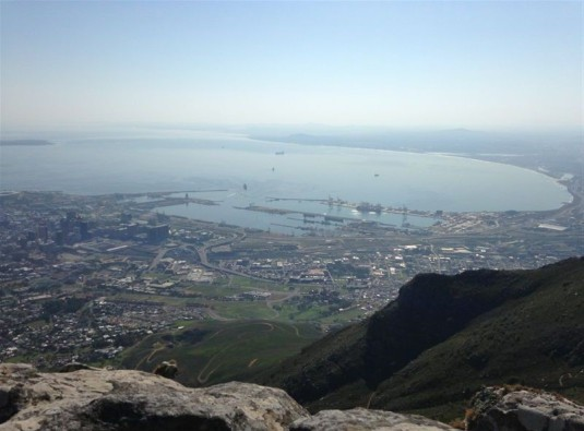 Cape Town harbour below with views spreading right across the West Coast.