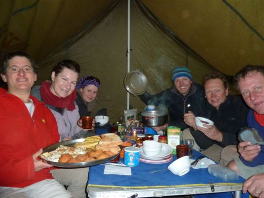 Enjoying our last breakfast together on the mountain after successfully summiting earlier that morning.