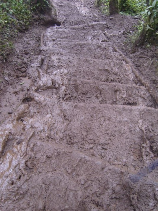 No where to go but straight through the mud! Photo by Donna McTaggart