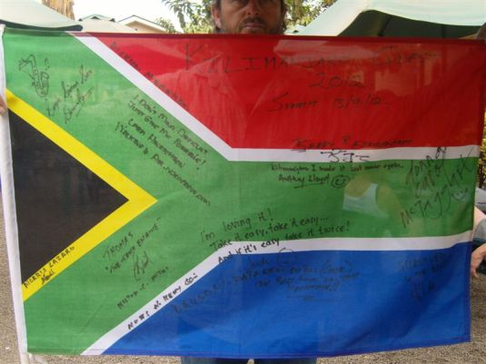 Barry's South African flag that he got everyone to sign. Photo by Donna McTaggart