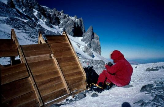 The little wooden hut at 6500m on Aconcagua, a hut which is used during bad weather.