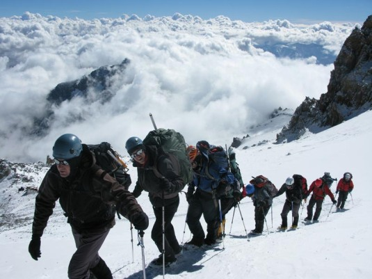 Walking above the clouds on Aconcagua. Pic found here.