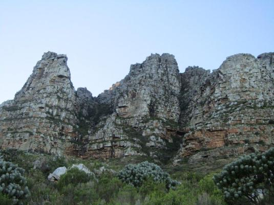 The Twelve Apostles on our left shading us from the early morning sun as we walked along the Pipe Track.