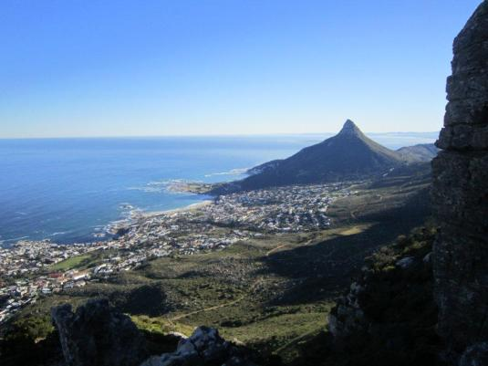 Views of Camps Bay and Lions Head far below.