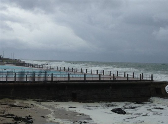 A deserted Sea Point Swimming Pool.