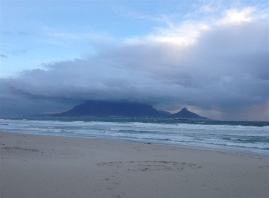 Table Mountain blanketed with the next lot of clouds rolling in over the Mother City.