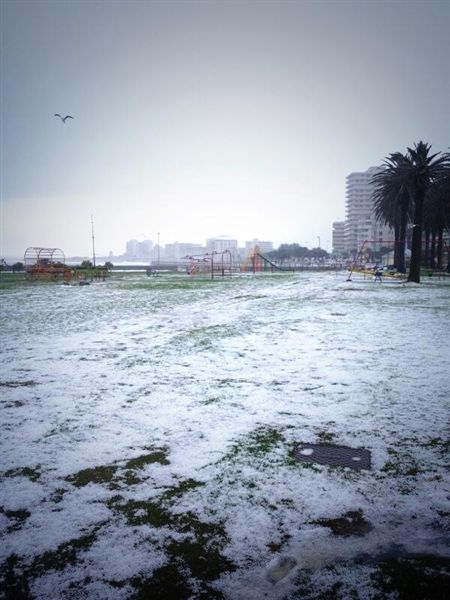 Sea Point Promenade after the crazy hail storm.