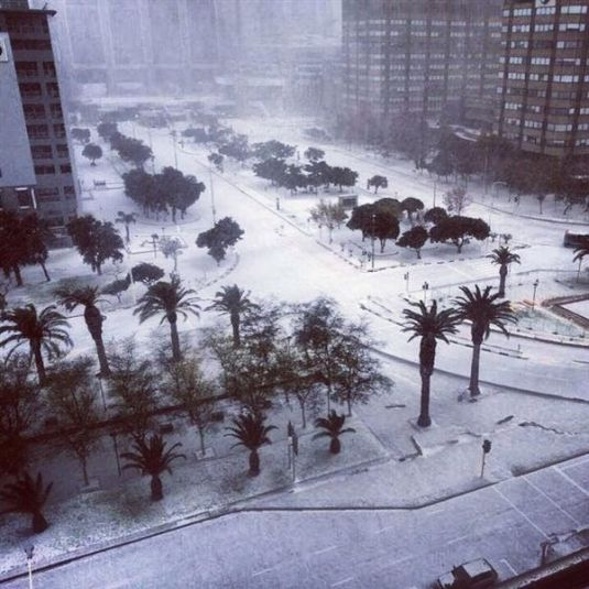 The City Centre covered in white! So this is what Cape Town would look like if it snowed!