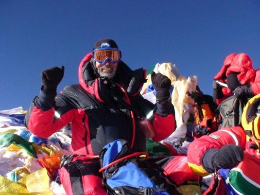 Ronnie Muhl on the summit of Everest.