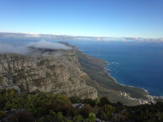 Overlooking Chapman's Peak below, the clouds still swirled around the mountain top.