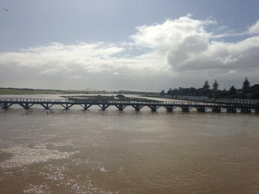The old wooden bridge over the Milnerton Lagoon.