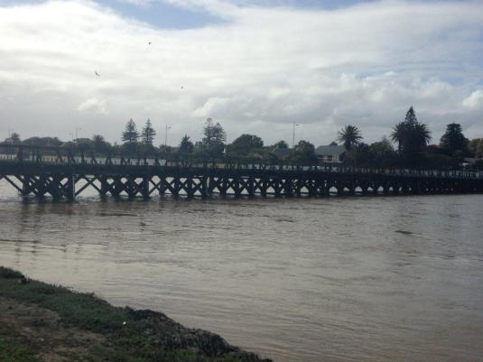 The old wooden bridge over the lagoon.