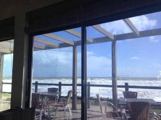 The view of the ocean from inside the clubhouse where we enjoyed a light lunch and something hot to drink.