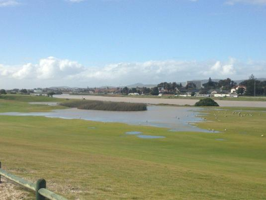 A water-logged golf course.