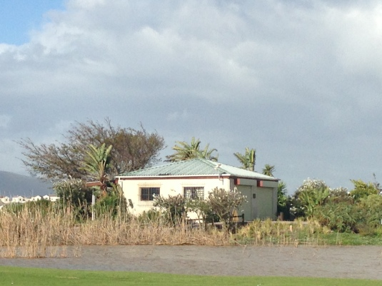 The halfway house on the golf course, still surrounded by water although the levels have dropped considerably.