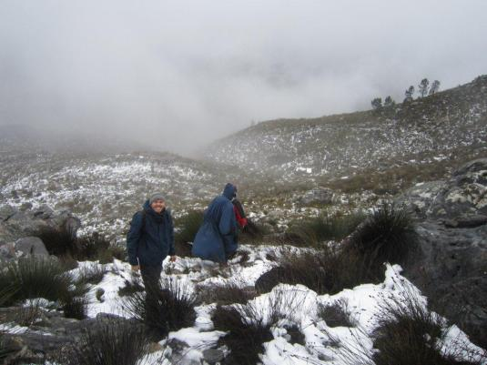 As we made our way back down to the lower slopes, the snow began to thin out again.