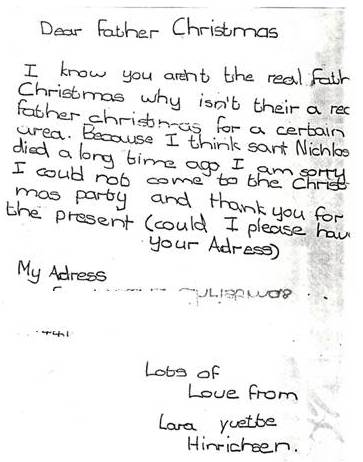 A letter from me to Father Christmas ~ the beginning of not believing!