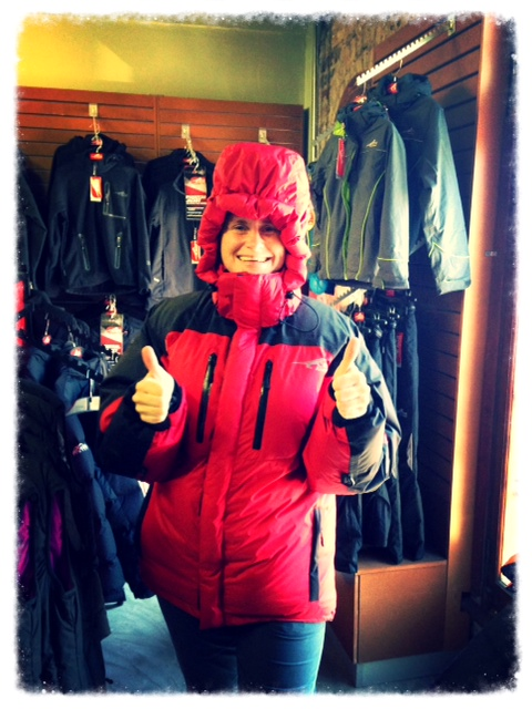 Here's me sporting my fabulous red down jacket that will see me through the icy-cold temperatures as we climb higher on the slopes of Aconcagua.