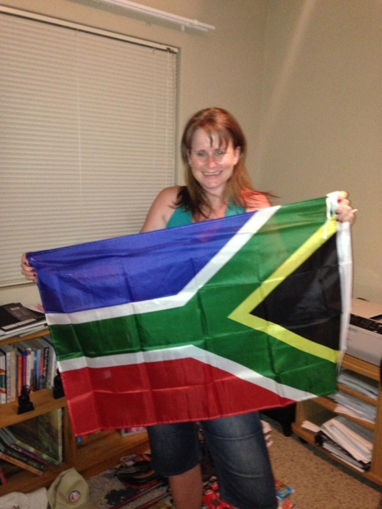 After looking for ages, I finally found a South African flag to take up to the top of Aconcagua with me. Good thing I take pictures of it before I leave... It might be the right way around when I'm looking at it but it doesn't work when the pic is taken!