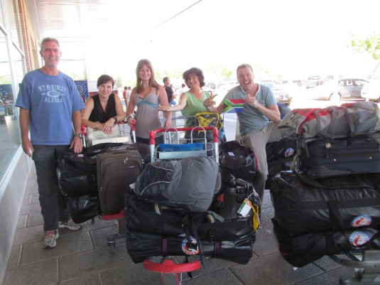 Arriving in Mendoza with all our luggage. As mountain climbers we do not travel light!