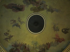 Looking up, the painting on the ceiling.