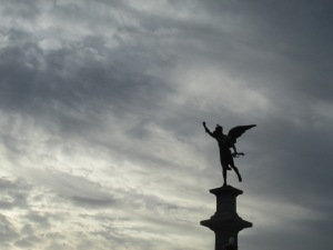 Near the end of the tour, as the sun began to set, I managed to snap this shot of yet another statue in a park.