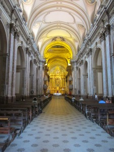 Interior of the Cathedral viewed towards the main chapel. Both the main altarpiece and the pulpits date from the late 18th century.
