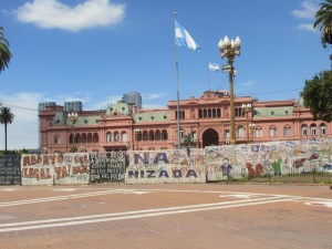 Graffiti on the walls lining the Plaza - no doubt from past protests.