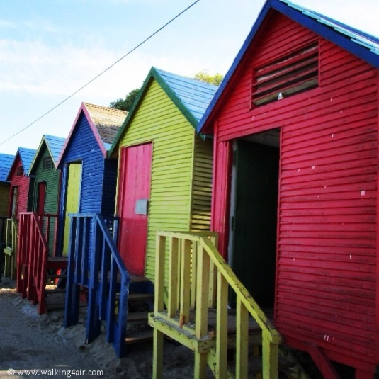 The colourful change rooms that line Muizenberg Beach.