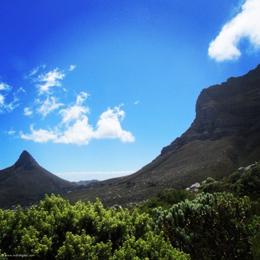 Round the other side of the mountain, walking under the Twelve Apostles.