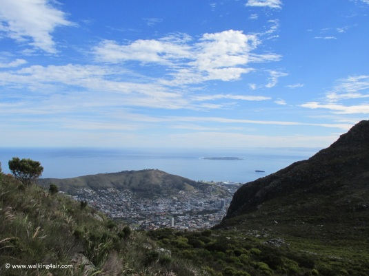 Beautiful views looking back over Signal Hill and Robben Island.