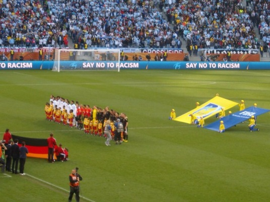 Germany and Argentina on the field ready to sing their national anthems. It was so surreal being there! I had come full circle!