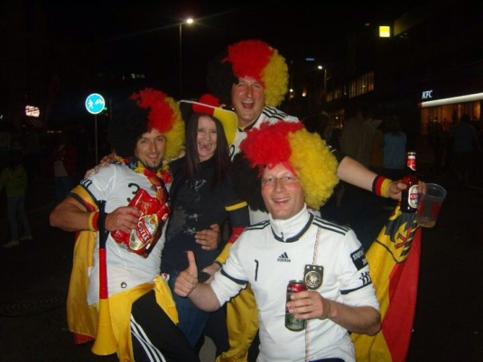 After watching my team play live at the Cape Town Stadium, the celebrating spilled out onto the streets. Here I am celebrating Germany's win with some random Germany fans in 2010.