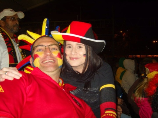 Friendly rivalry between my friend and I. He supported Spain and I, Germany!