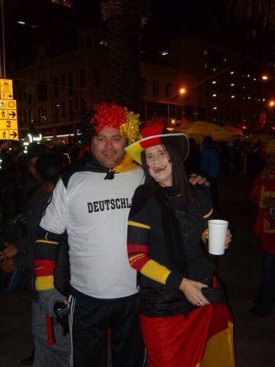 Celebrating with another random Germany fan.