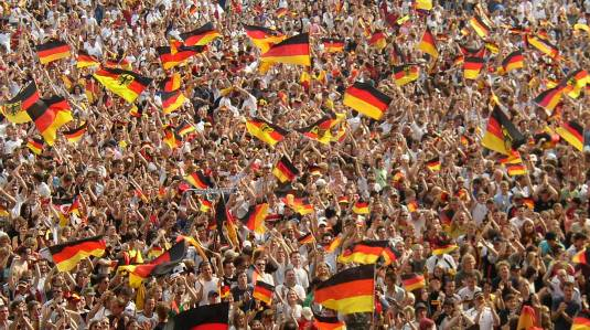 A sea of Germany fans inside the stadium.