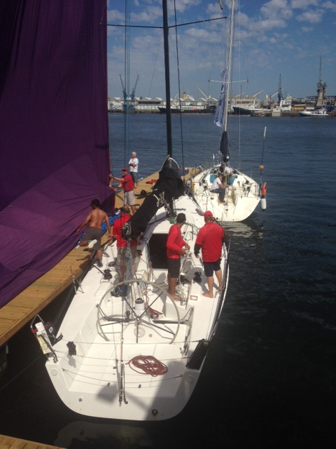 Teams drying out their spinnaker according to the guy on the PA system.