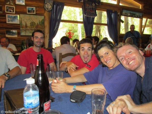Two of our Argentinian guides, Adrian and Bruno and my two Kili team mates, Judi and Simon waiting for lunch.