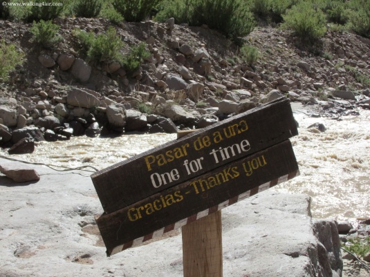 Our first river crossing, this sign letting us know only one at a time!